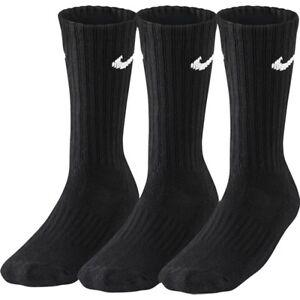 3 PACK-  NIKE Sports Socks Pairs Mens Womens Unisex - Black - 3 Pairs