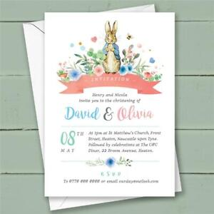 10 PERSONALISED PETER RABBIT JOINT CHRISTENING NAMING DAY INVITATIONS GIRL BOY