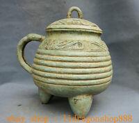 """12.4"""" Ancien Chine Bronze Ware Dynastie Palais Bête Manipuler 3 Legs Pot à boire"""