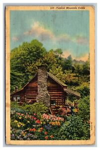 Typical Mountain Cabin Linen Postcard Posted Cleveland, TN Tennessee, 1943