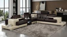 Modern Large LEATHER SOFA Corner Suite NEW Chocolate & Black