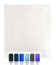 """Minky Dot Baby Blanket throw, double sided toddler bedding, 30"""" x 35"""" Satin"""