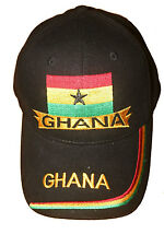 GHANA BLACK EMBROIDERED COUNTRY FLAG HAT CAP .. NEW