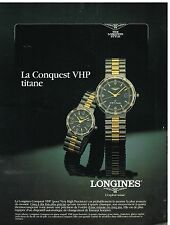 Publicité Advertising 1987 Les Montres Longines Conquest VHP Titane