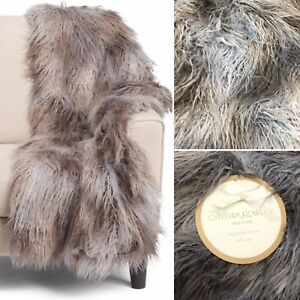 Cynthia Rowley Mongolian Faux Fur Throw Blanket Gray Brown Luxury Rustic Lodge