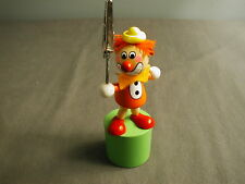 "WOODEN COLLAPSIBLE TOY - CLOWN W/ CLIP TO HOLD NOTES - COLORFUL - 4 3/4"" H - dha"