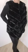 Gilet Black Faux Fur & Faux Leather Luxurious Shaped Hem Soft Fits 14 16 18 NEW