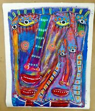 Tracey Ann Finley Original Outsider Raw Brut Painting 16x20 Wearing Masks Canvas
