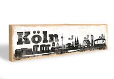 Holz Schlüsselbrett Köln Skyline + 5 Haken grau