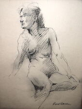 Artist Graphite Drawing Nude Study - Woman Sitting - Rand Warren