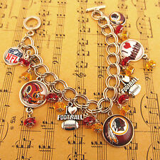 8.5'' NFL Washington Redskins Football Logo Charms Handcraft Bracelet Fans Gift