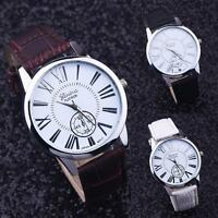 Luxury Men's Quartz Watches Date Stainless Steel Analog Leather Dial Wrist Watch