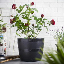 50CM BLACK PLASTIC PLANT FLOWER POT PLANTER TUB GARDEN PATIO BLACKSMITH BARREL