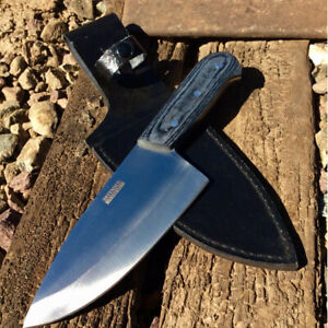 """10"""" Defender-Xtreme Butcher Knife Stainless Steel Blade with Grey Wood Handle"""