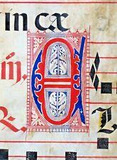 Huge deco.Antiphonary Manuscript Lf.Vellum,fancy E&unusual B initial,c.1500 #112