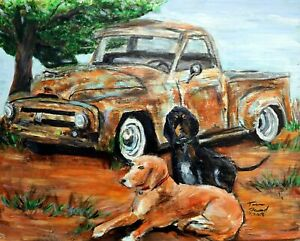 Teena Stewart Hound Dogs and Truck Original 16x20 Framed Acrylic Painting