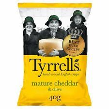 Tyrell's Mature Cheddar & Chive Crisps - Box of 14x 40g Packets - NEW & SEALED