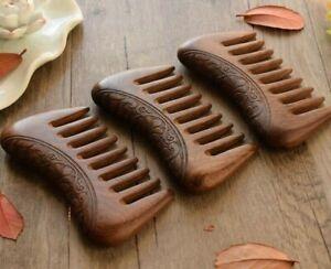 Pocket Wooden Comb Natural Gold Sandalwood Super Wide Tooth Engraved Wood Combs