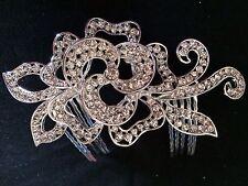 Wedding Bridal  Rose Flower Rhinestones Diamante Hair Comb Pin Clip HOT HA012-06