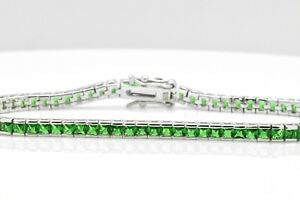 "Sterling Silver Princess Cut Art Deco Green Emerald Tennis Bracelet 7.5"" inch"