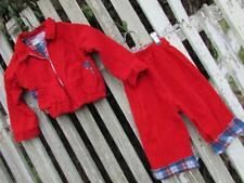 Vintage Park Bench Kids red corduroy jacket pants set plaid sz 24 months 80s 90s