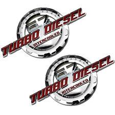 2 PC RED/CHROME 6.7 TURBO DIESEL MOTOR BADGE FOR TRUNK HOOD DOOR TAILGATE B