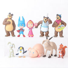 Lot of 10pcs Masha And The Bear Action Figure Cute Doll Cake Topper Play Set Toy