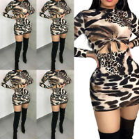 Women's Long Sleeve Bandage Bodycon Evening Party Cocktail Club Mini Dress New