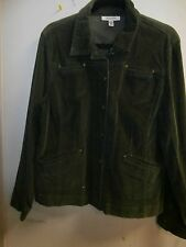 JM COLLECTION  Cute Stretch OLIVE GREEN Corduroy JACKET NWT