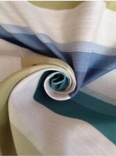 Prestigious Teal & Seaspray Stripe Natural Weave Curtain Fabric 10 M  Beach Hut