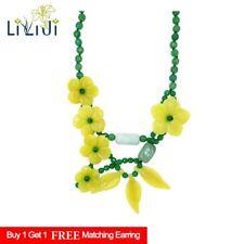 Natural Lemon Jade Flowers Jade leaf Green agate Fashion Party necklace 21''