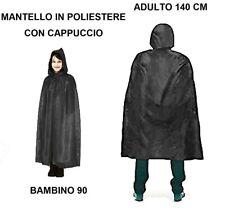 CARNEVALE HALLOWEEN MANTELLO NERO CON CAPPUCCIO CAPE HOOD TG BAMBINO E ADULTO