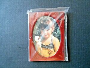 """Unbranded 1-7/8"""" x 2-1/2"""" Red Rectangle Picture Frame w/Oval Inset"""