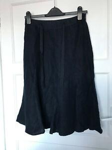 Laura Ashley Navy Blue Linen A Line Flare Panel Knee Length Skirt UK Size 8