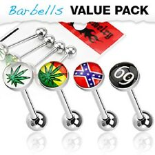 New Surgical Steel Pack of 4 Novelty Logo Tongue Bar Barbells Weed 69 Cross 14g