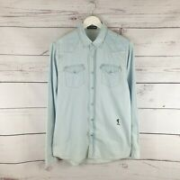 Religion Mens Denim Long Sleeve Shirt Blue Thin Cotton Poppers Western Size M