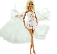 White Sexy Pajamas  + Bra + Underwear Clothes For Barbie Doll Clothes Ia