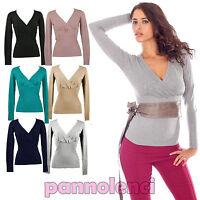 Maglione pullover scollato a V incrociato donna maglia pull maglioncino 6281