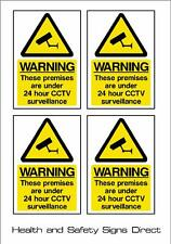 CCTV SIGN - 24HR SURVEILLANCE *PACK OF 4* *STICKER* 100x150mm - A6