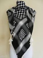 Unisex Black White Shemagh Head Scarf Neck Wrap Authentic Cottton Cover BK-WT