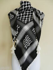 Black Arab Shemagh Head Scarf Neck Wrap Authentic Cottton Palestine Arafat BK-WT