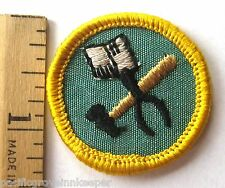 RARE 1963 Girl Scout Cadette METAL ARTS BADGE Tin Snips Hammer Tools Patch NEW