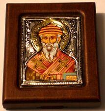 Miniatura icono Spyridon plata oklad Silver Icon ICONE ICONE Святитель спиридон