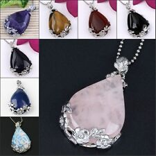 Natural Amethyst Rose Quartz Gemstone Teardrop Shape Stone Pendant Jewelry