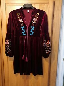 Ladies Boho embroidered Tunic  top size XL  18.
