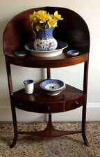 Antique Georgian Mahogany Corner Washstand Complete With Original Accessories