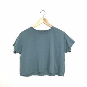 Lululemon Women's Approx XS Cropped Short Sleeve T-Shirt Top Blue Green *flaw A6