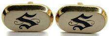 """S"" Monogram Hickok Vintage Cufflinks Gold Tone Silver Tone Tops USA"