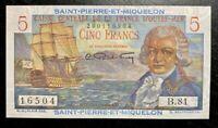 RARE! 1950 SAINT-PIERRE-ET-MIQUELON 5 FRANCS BANKNOTE UNC Cond!