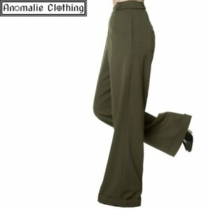Banned Apparel Party On Wide Leg Trousers in Olive - 1950s Vintage Retro Swing